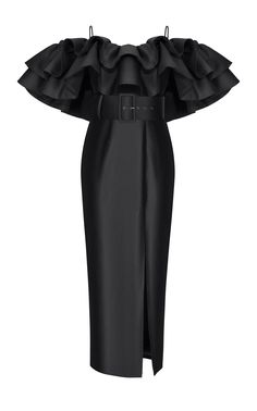 Rasario Ruffled Off-The-Shoulder Silk Satin Dress ColorBlack Ladies Day Dresses, Gowns For Girls, Silk Satin Dress, Satin Dresses, Couture Dresses, Fashion Dresses, Freakum Dress, Lace Evening Dresses, Black Girl Fashion