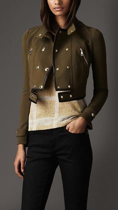 Cropped Leather Detail Jacket | Burberry - Oh the colour is too fabulous!