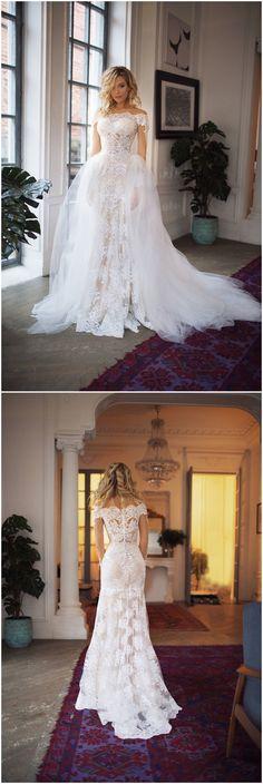 detachable train wedding dress Nektaria ,off the shoulder long sleev wedding dress , mermaid lace wedding dress #weddings #dresses #weddingdresses #etsy #weddingideas #bridal