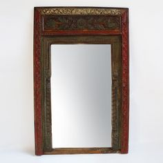 Antique carved Rajasthan doorway mirror frame.  Beautiful original painted patina sealed in hand wax finish.  One of a kind find.