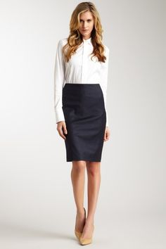 White Satin Blouse Black Pencil Skirt Stockings and High Heels ...