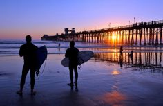 Pier View South Beach is the most popular beach in Oceanside, CA. Like the name suggests, it& the beach just south of Oceanside Pier, and yes the beach on Newport Beach Pier, Oceanside Pier, Oceanside California, California Sunset, Southern California, San Diego Neighborhoods, San Diego Attractions, Beach Wall Murals, La Jolla Shores