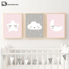 Pink Moon Cloud Star Nursery Child Poster Cute Art Decorative Print Wall Painting Decoration Picture Nordic Kid Baby Room Decor Visit the post for more.