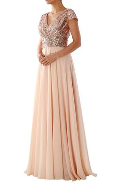 Cap Sleeves V Neck Sequin Chiffon Rose Gold Bridesmaid Dress 160150