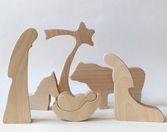A special 6-PIECE wood nativity set which joins tradition and modern minimalist design - simple nativity silhouette. The wood nativity is crafted