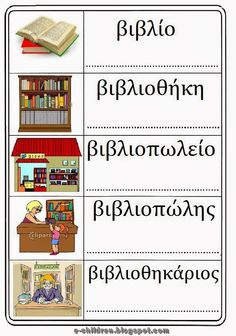ΛΕΞΙΛΟΓΙΟ ΓΙΑ ΤΟ ΒΙΒΛΙΟ ~ Los Niños Language Lessons, Speech And Language, Learn Greek, Library Inspiration, Greek Alphabet, Greek Language, Preschool Education, Greek Quotes, School Lessons