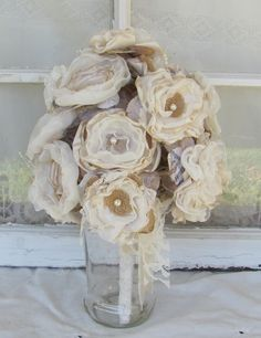 Burlap Wedding Bouquet Vintage Inspired  Ivory with Tan Burlap