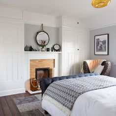 Classic bedroom makeover with woodland wallpaper and upholstered bed Bedroom Alcove, Bedroom Storage, Home Bedroom, Bedroom Ideas, Master Bedrooms, Built In Wardrobe Ideas Alcove, Bedroom Built In Wardrobe, Wardrobe Storage, Bedroom Chimney Breast