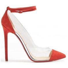 Christian Louboutin Un Bout PVC 120mm Suede Pumps Red [Christian Louboutin Pointed Toe Pumps 1990] - $118.00 : Christian Louboutin Outlet,Cheap Red Bottom Shoes Online Store.