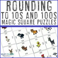 Rounding to the Nearest 10 and 100 within Hundreds Games or Math Centers | 3rd, 4th grade, Activities, Fun Stuff, Games, Homeschool, Math, Mental Math, Numbers 3rd Grade Classroom, A Classroom, Magic Squares Math, Maths Puzzles, Math Numbers, Homeschool Math, Rounding, Test Prep