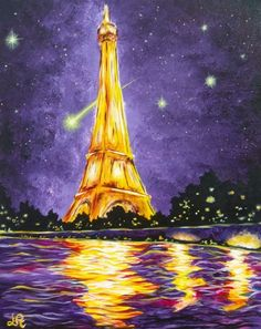Golden Eiffel Tower painting with water reflections and starry night. Paint Nite.