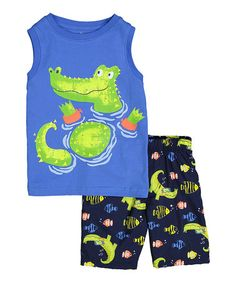 Another great find on #zulily! Blue & Green Crocodile Tank & Shorts - Infant & Toddler #zulilyfinds