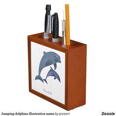 Jumping dolphins illustration name pencil holder