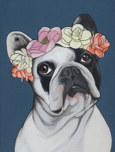 Flowers in her hair / French Bulldog by TheDogPaintersStudio