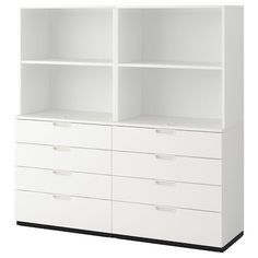 Freshen up your home with ELVARLI 3 sections, white. ELVARLI storage system adapts to your space. The open solution with durable bamboo shelves creates an attractive display of your belongings. Ikea Galant, Nordli Ikea, Ikea Trofast, Ikea Storage, Bedroom Storage, Storage Cabinets, Cupboards, Dorm Storage, Storage Units