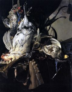 Willem vanAelst 1625-1683  Still Life of Dead Birds and Hunting Weapons