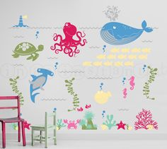 Under the Sea Wall Decal, Ocean Friends Wall Decal, Octopus, Whale, Shark, Sea Turtle Wall Decals for Nursery, Kids or Childrens Room 063