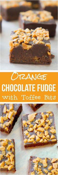 Easy chocolate fudge recipe using 4 ingredients. This orange flavoured chocolate fudge is made in the microwave and topped with toffee bits.