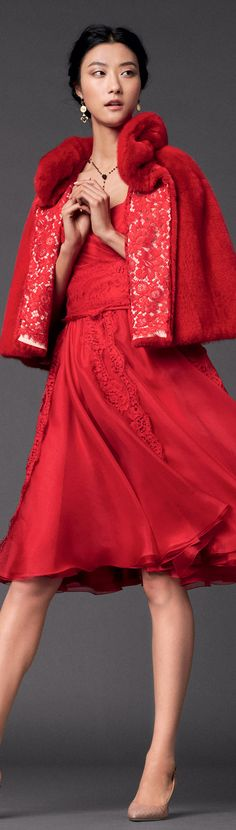Red dress and jacket - Dolce & Gabbana | Woman Collection 2014