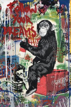 Available for sale from Hamilton-Selway Fine Art, Mr. Brainwash, Everyday Life Silkscreen and mixed media on paper, 30 × 22 in Street Art Banksy, Graffiti Wall Art, Graffiti Wallpaper, Graffiti Drawing, Murals Street Art, Mural Art, Graffiti Artists, Graffiti Quotes, Street Wall Art