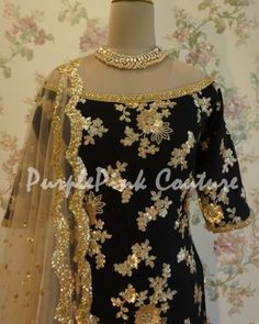 Gold Sequins Black Punjabi Suit can be custom made as per your measurments or even with some styling or pattern customization, check it now. Designer Punjabi Suits Patiala, Latest Punjabi Suits, Punjabi Suits Party Wear, Punjabi Suits Designer Boutique, Indian Party Wear, Black Punjabi Suit, Black Salwar Suit, Punjabi Suit Simple, Designer Party Wear Dresses