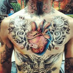 Tattoo Torso Heart Flowers Owl   #Tattoo, #Tattooed, #Tattoos