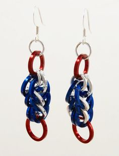 Red Silver and Blue Chainmaille Earrings by AndrassidyDesigns