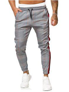 Drawstring Houndstooth Print Contrast Striped Jogger Pants - Light Gray S Bikini Noir, Haut Bikini, Mens Sweatpants, Joggers, Sweat Shirt, Men Shirt, Fashion Pants, Mens Fashion, Fashion Clothes