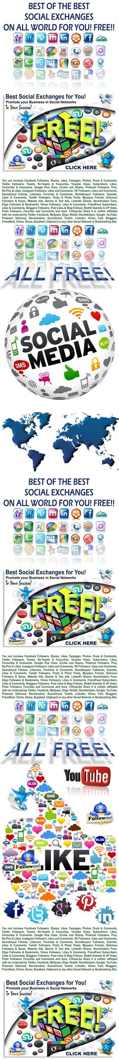 Social Exchanges * BEST OF THE BEST HERE! Only the best and trusted Social Exchanges. Quality and Security. * ALL FREE! Visit! > http://networkerhot.blogspot.com