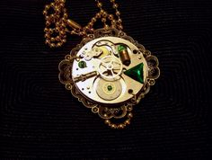 Green Light Watch Works Pendant - Steampunk Necklace
