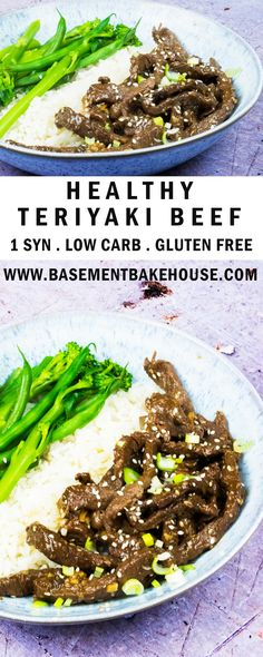 This delicious recipe for Healthy Teriyaki Beef is the ultimate simple Fakeaway! It's a low syn recipe at just 1 syn per portion and it's also low carb gluten free and easy to make. Whip it up in just 30 minutes for the perfect alternative Takeaway reci Healthy Low Carb Recipes, Dairy Free Recipes, Gluten Free, Slimming World Fakeaway, Teriyaki Beef, Clean Eating, Healthy Eating, Asian, World Recipes