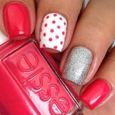Polka Dots and Glitter Nail Design