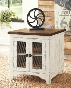 Wystfield - White/Brown - Rectangular End Table by Signature Design by Ashley. Get your Wystfield - White/Brown - Rectangular End Table at American Furniture, Brooklyn Park MN furniture store. Farmhouse End Tables, Rustic End Tables, Diy End Tables, Living Room End Tables, End Tables With Storage, Coffee Table With Storage, Living Room Furniture, Modern Farmhouse, Farmhouse Decor