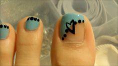 chicago toenail design - Blue and black nails polka dots heart on big toe nail art design