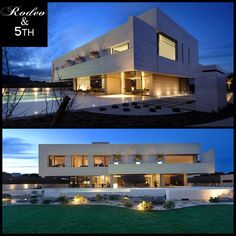 Home at night! The Vivienda 19 Home by A-cero in Spain. #rodeoand5th #luxury #homes #design #decor #view #pool #spain #madrid
