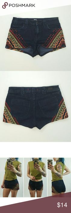 """BDG jean shorts with boho embroidery detail 29 Excellent condition BDG shorts with boho embroidery detail.  Size 29 (US10).  BDG runs a little small so I'd recommend these for a size 28 (US8) as well.  Please check measurements against your own shorts to be sure :)  I am wearing the same shorts in a size 27 in the photos, and I normally wear a 26. Low waist 32-34,"""" Hip 40-44,"""" Length 10,"""" Inseam 1.5."""" Urban Outfitters Shorts Jean Shorts"""