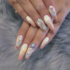 Glamorous Nail Designs To Match Your Ken Nails - maallure Perfect Nails, Gorgeous Nails, Pretty Nails, Fancy Nails, Bling Nails, Hot Nails, Hair And Nails, Nails Inspiration, Garden Inspiration