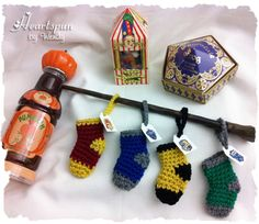 Set of 4 Harry Potter Inspired Mini Christmas Stockings for Gryffindor, Ravenclaw, Hufflepuff and Slytherin by HeartspunByWendy on Etsy Mini Christmas Stockings, Mini Christmas Ornaments, Xmas, Harry Potter Weihnachten, Harry Potter Crochet, Mistletoe And Wine, Harry Potter Nursery, Harry Potter Christmas, Ravenclaw
