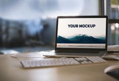 MacBook on Desk photo-realistic Mockup | MockupWorld