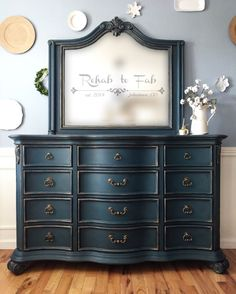 Dresser with mirror. Heirloom Traditions Paint in Vintiques Bugle Boy done by Rehab to Fab.