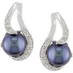 Miadora Sterling Silver Black Genuine Freshwater Pearl and Diamond Earrings (9-10 mm) Sale $50.99