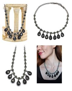"""""""Fashion silver black crystal necklace"""" by oceanfashion on Polyvore"""