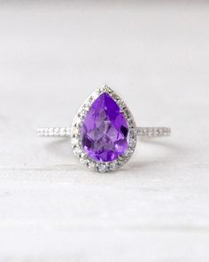 Pear Shaped Amethyst and Conflict Free Diamond Halo Conflict Free Diamond Engagement Wedding November Birthstone Ring