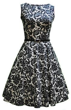 Lady Vintage 50s Glamorous Black Pattern Tea Dress