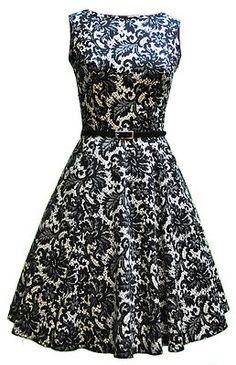 Lady Vintage 50s Glamorous Black Pattern Tea Dress