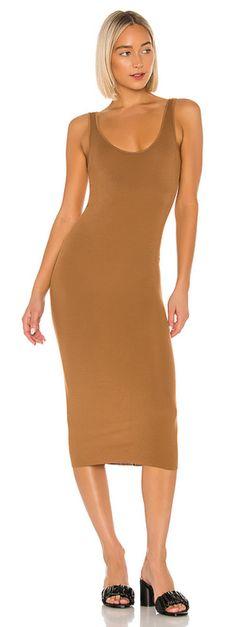 ENZA COSTA Sleeveless Scoop Neck Rib Bold Tank Midi Dress Olive Green M $150 B4