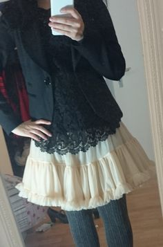 Outfit American Apparell Petticoat und Strickstrumpfhose  Lucciola: Beauty, Fashion, Literatur und Inspirationen