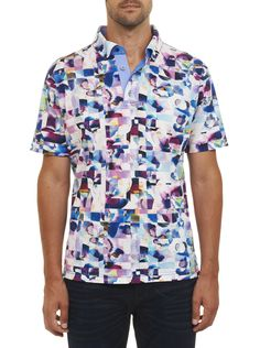 Boldly going where no polo has gone before. We've turned up the volume on your standard polo shirt with this abstract digital print. Crafted from marvelously sumptuous mercerized cotton, this one shouts statement style.