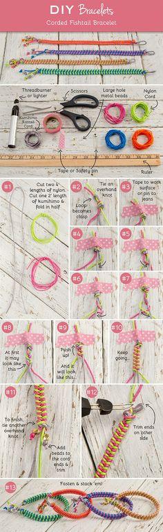 DIY Corded Fishtail Bracelets