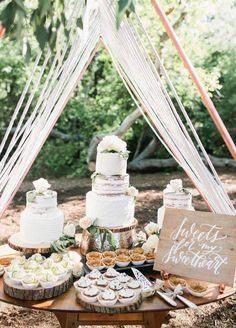 Why have one cake when you can have three?! Turn your forest wedding into even more of a dream with this salivating dessert arrangement.